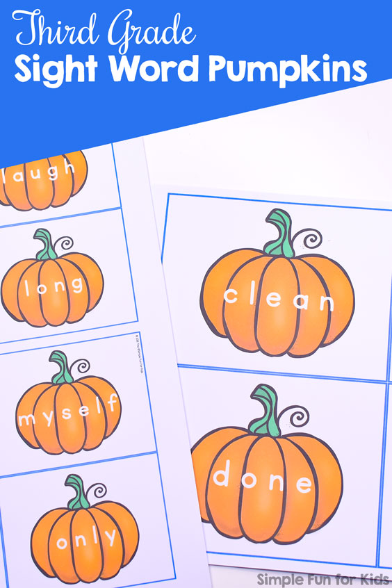 Kindergarteners and first graders will love learning and reviewing their sight words with these cute printable Third Grade Sight Word Pumpkins! Print at different sizes for flash cards, memory cards, and other uses.