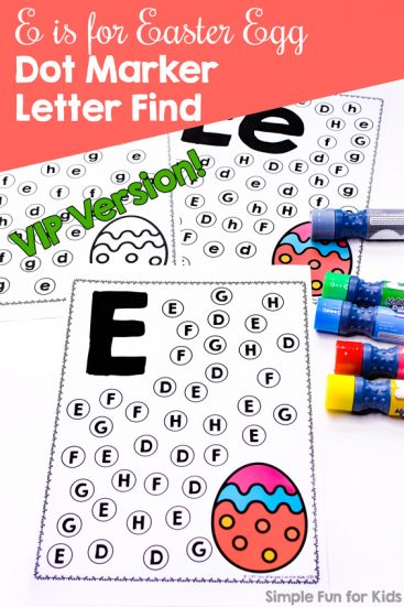 Learn to recognize letter E with this cute, simple, no prep E is for Easter Egg Dot Marker Letter Find. Perfect for toddlers, preschoolers, and kindergarteners who are learning to read. Includes lowercase, uppercase, and mixed case versions in color and black & white.