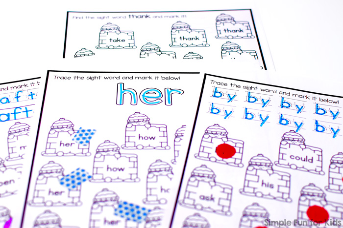 Practice all 41 first grade sight words with this cute no-prep Snow Fort First Grade Sight Word Letter Find for kindergarten and first grade! All in b&w to help you save ink and with six versions for each sight word for a total of 246 pages.