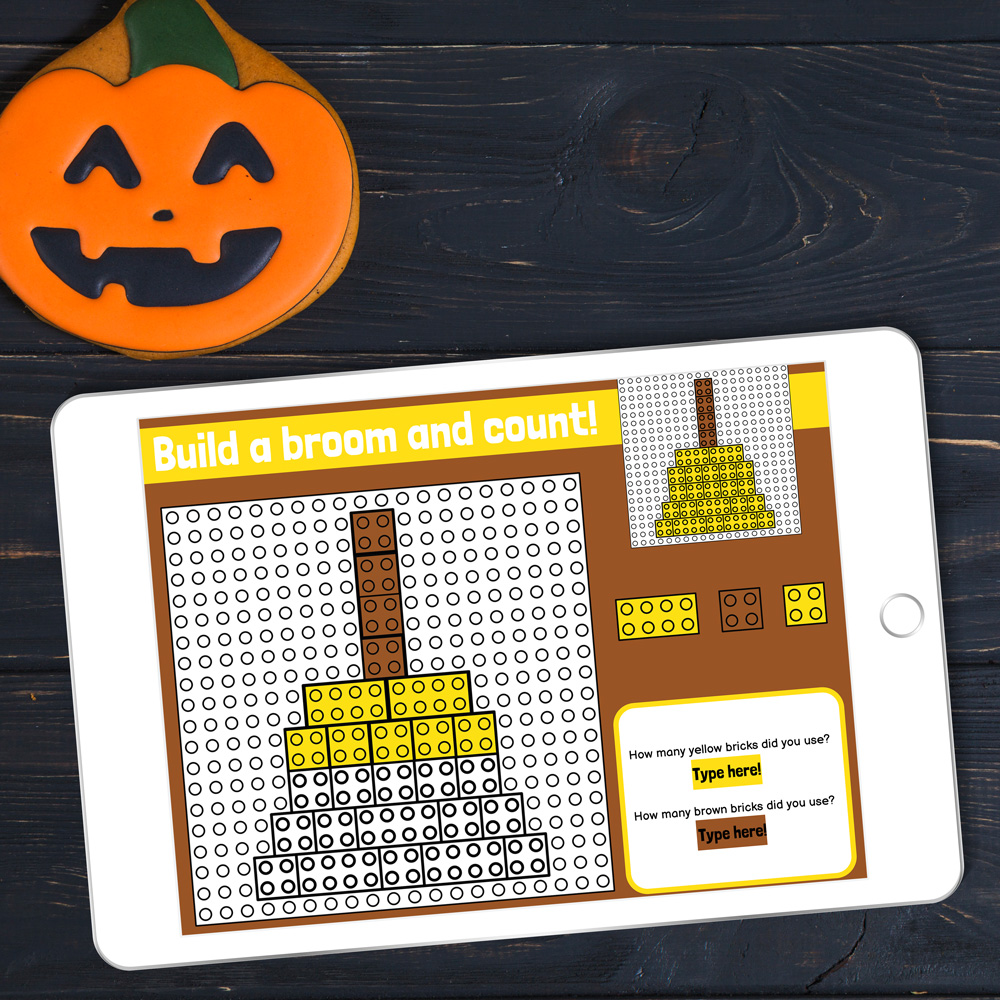 Ten fun EDITABLE Halloween-themed digital LEGO challenges for Google Slides and Google Classroom. Students can practice skills such as copying & pasting, dragging & dropping, typing in text boxes, and counting in a super-engaging way.