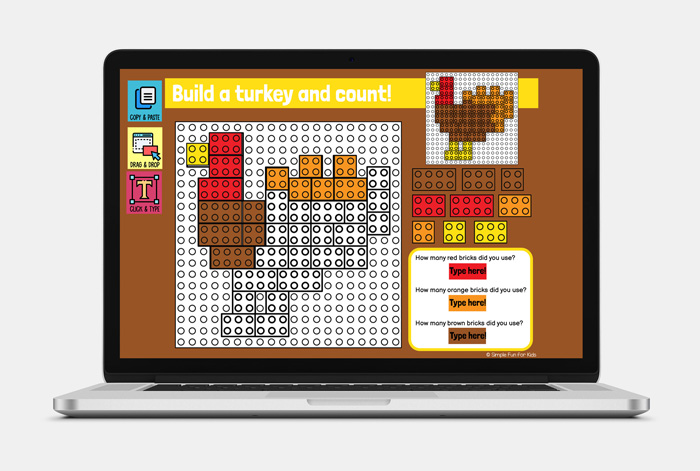 Ten fun EDITABLE Thanksgiving-themed digital LEGO challenges for Google Slides and Google Classroom. Students can practice skills such as copying & pasting, dragging & dropping, typing in text boxes, and counting in a super-engaging way.
