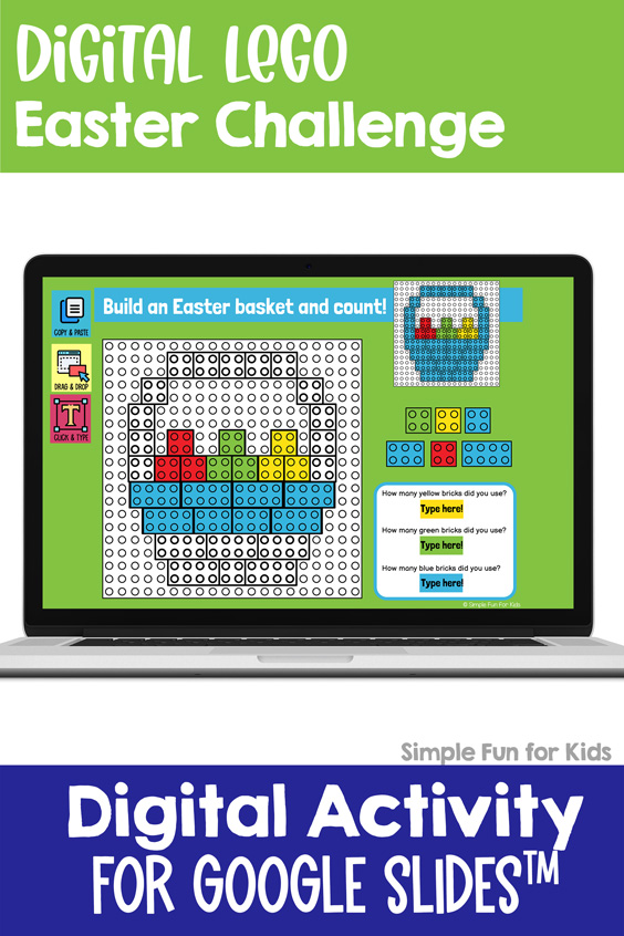 Ten fun and engaging EDITABLE Easter-themed digital LEGO challenges for distance learning with Google Slides and Google Classroom. Students can practice skills such as copying & pasting, dragging & dropping, typing in text boxes, and counting in a super-engaging way.