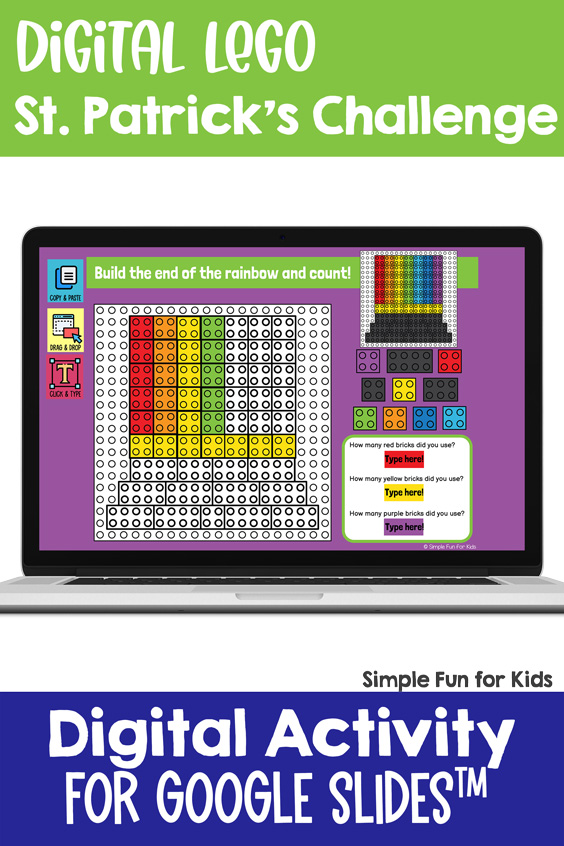 Ten fun and engaging EDITABLE St. Patrick's Day-themed digital LEGO challenges for distance learning with Google Slides and Google Classroom in elementary grades. Students can practice skills such as copying & pasting, dragging & dropping, typing in text boxes, and counting in a super-engaging way.