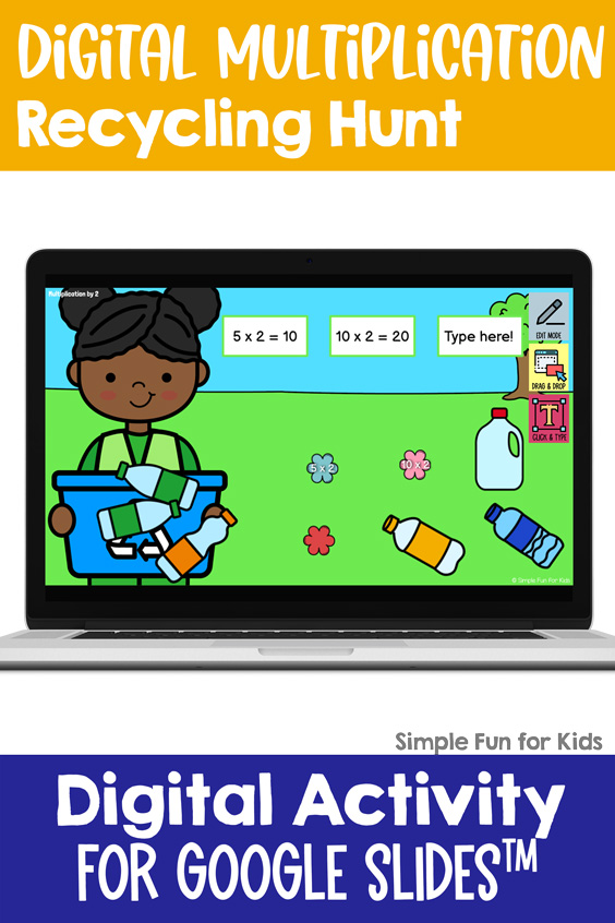 Fun multiplication practice for 3rd and 4th graders with an Earth Day theme: Digital Multiplication Recycling Hunt for Google Slides!